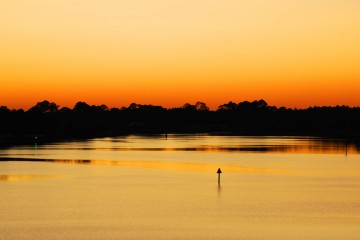 Image of the sun setting on the Apalachicola River.