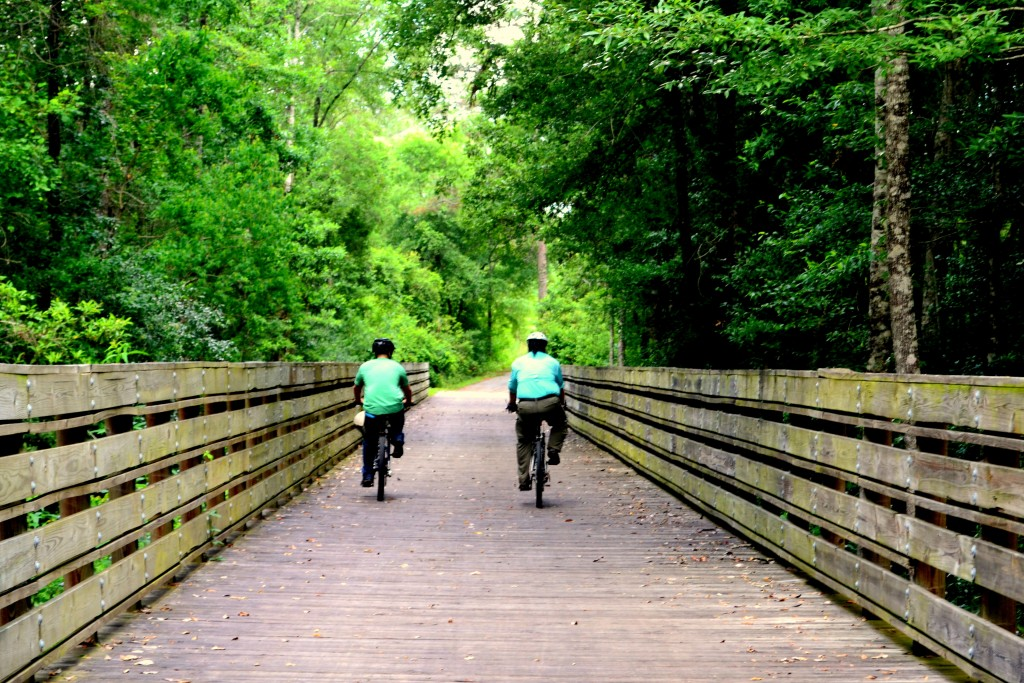 Image of two people riding down a trail boardwalk.