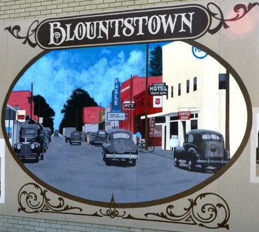 Image of the mural painted on a building in Blountstown.