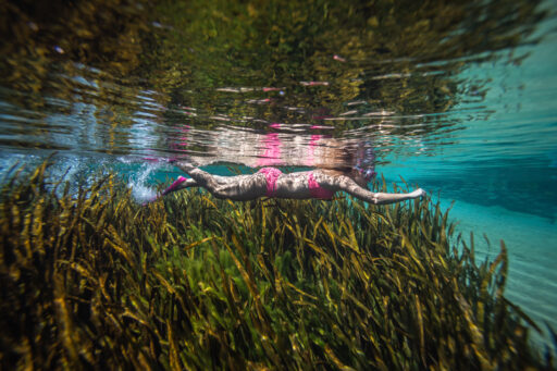 Image of a woman swimming beneath the water of Blue Springs.