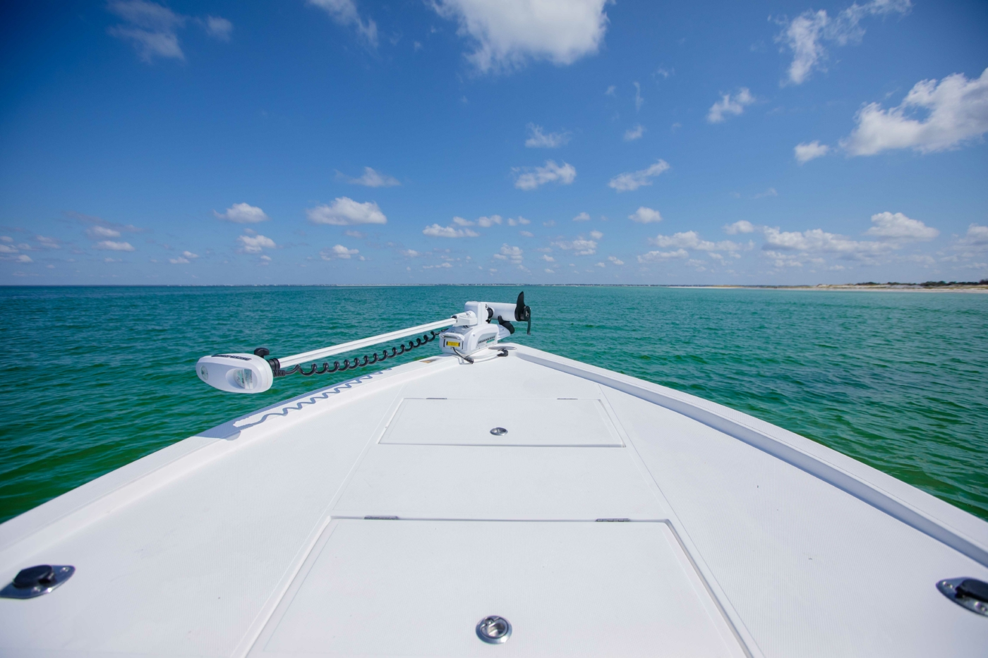 Image of bow of boat overlooking Cape San Blas.