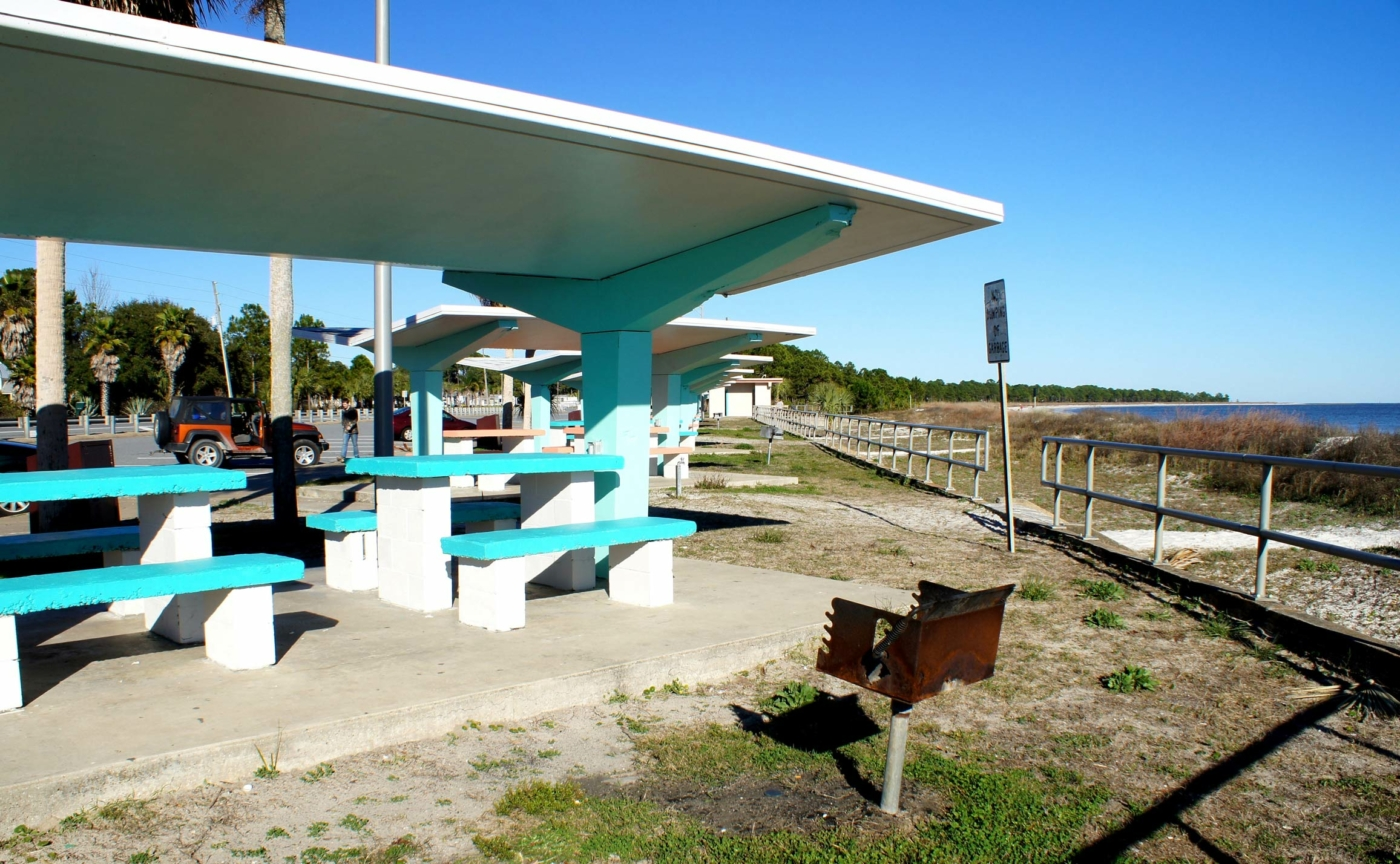 Image of retro picnic area overlooking the water in Carrabelle Florida.
