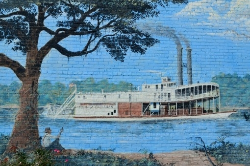 Image of the Chatahoochee Heritage Mural featuring a steamboat.