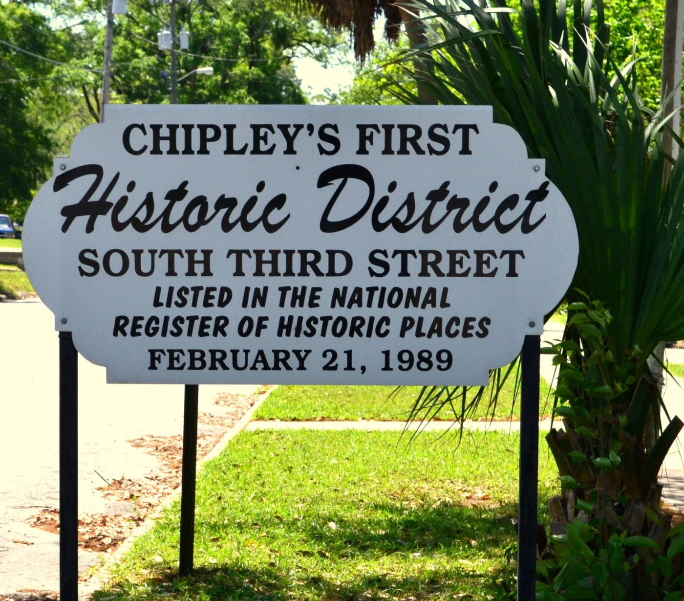 Chipley's First Historic District sign on South Third Street.