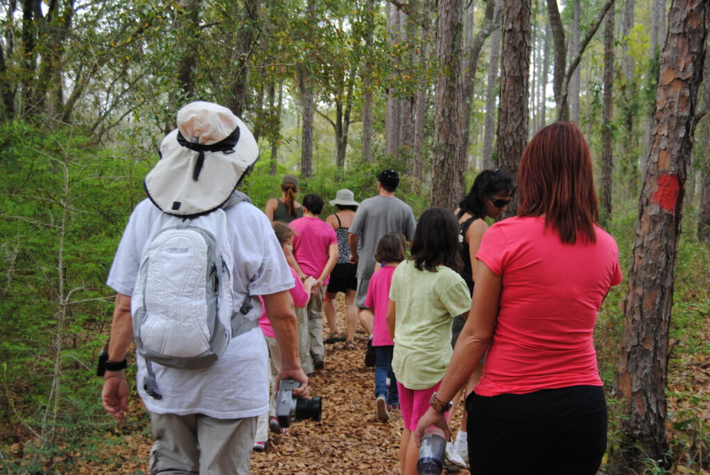 A group of people following the blaze marked trees along a hiking trail.
