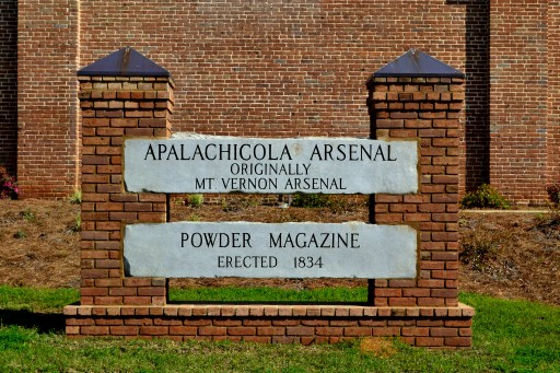 Image of the sign at the Apalachicola Arsenal.
