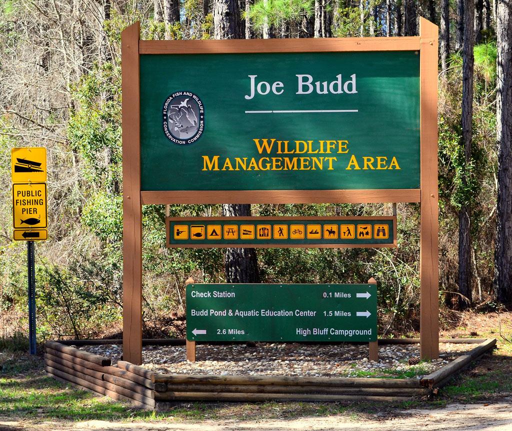 Image of Joe Budd Wildlife Management Area sign.