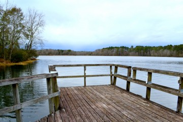 Image of the water and dock at Lake Victor.
