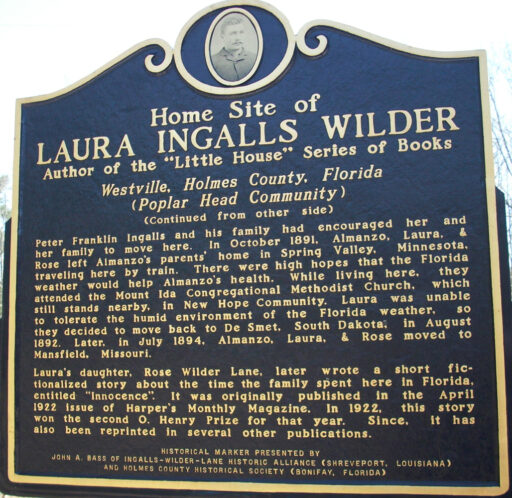 Image of the sign marking the home site of Laura Ingalls Wilder.