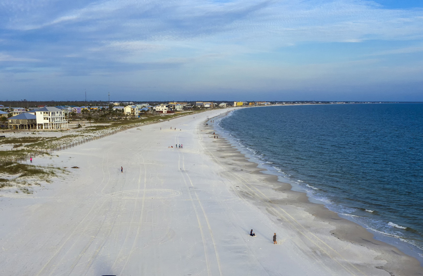 An aerial image of Mexico Beach.