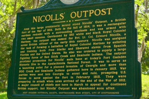 Image of the Nicolls' Outpost historical marker.