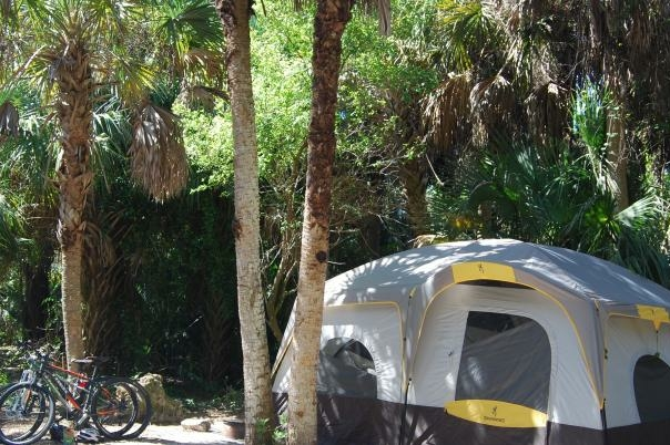 tent and bikes at a primitive camping site.