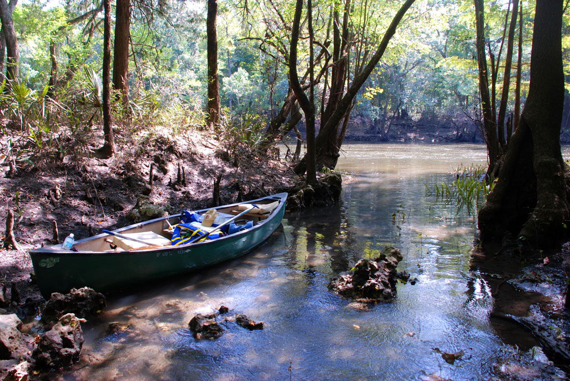 Image of a canoe against a river bank.