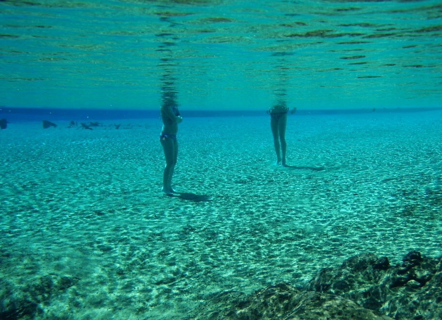 Image of two people standing in a spring.