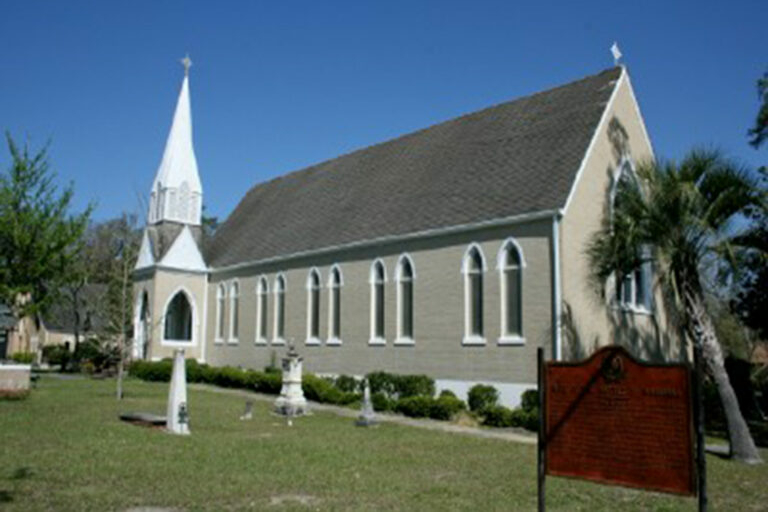 "Image of St. Luke""""""s Episcopal Church and cemetery."