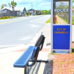 Image of the Worlds Smallest Police Station in Carrabelle, Florida.